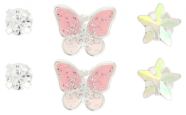 Set orecchini a perno - Pink Butterfly