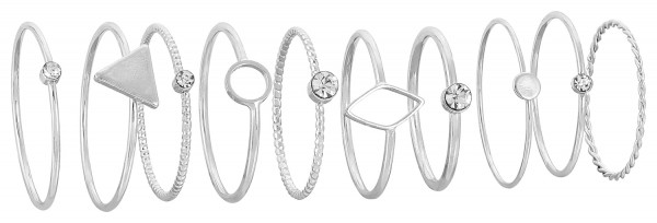 Ringen set - Silver Graphic Style