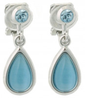 Earclips - Cat's eye blue