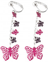 Kinder Earclips - Pink Butterfly