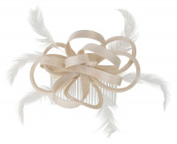Fascinator - Cream Feather