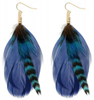 Pendientes largos - Blue Feather