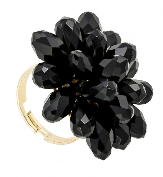 Ring - Black Flower