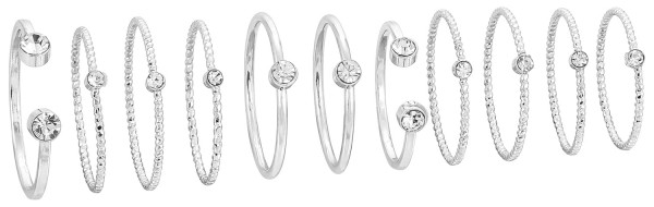 Ring-Set - Silver Glam