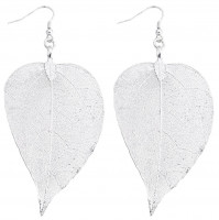 Pendant earrings - Leaf Silver