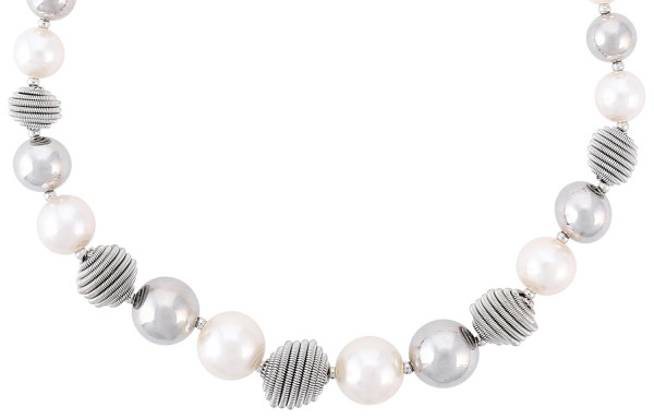 Collar - Silver Pearls