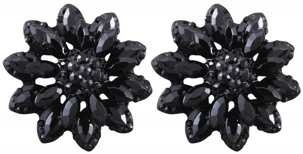 Stud Earrings - Black Flower