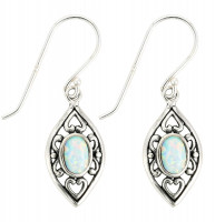 Drop Earrings - Silver Opalite