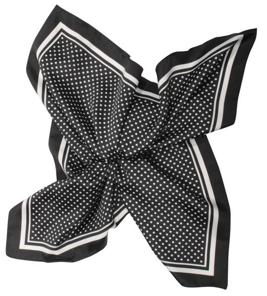 Velour scarf - Polka dots/black and white