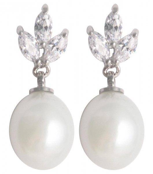 Stud Earrings - Pearl Crystal