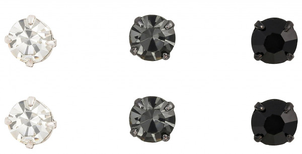 Stud Earrings - Three Diamond Glam